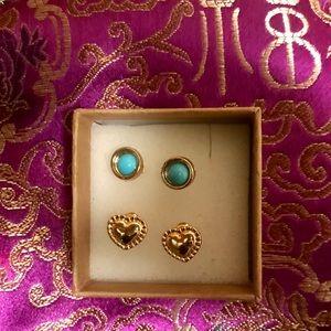 New Gold Stud Earrings 2 Pack Bundle